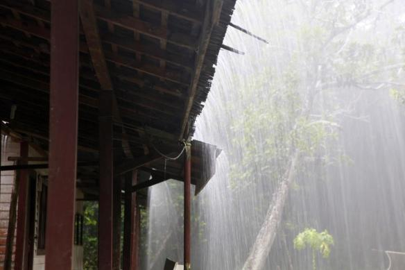 Big rain at camp (photo by Prof. Fan Pengfei)